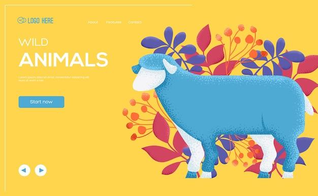 Lamm-konzept-flyer, web-banner, ui-header, website eingeben. kornstruktur und geräuscheffekt.