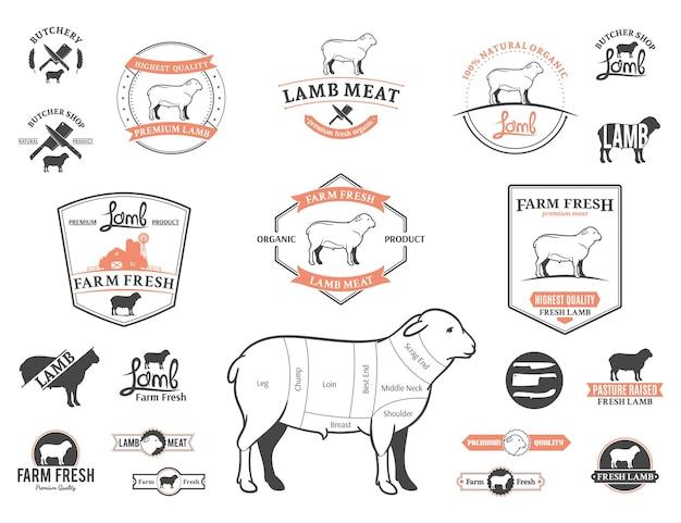 Lamm-logo-etiketten, diagramme und designelemente