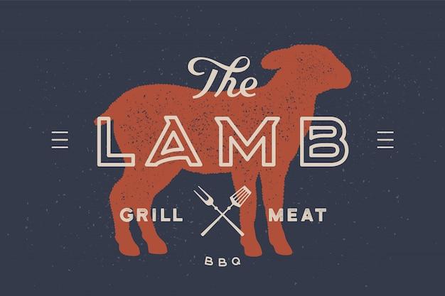 Lamm. logo mit lamm- oder schafsilhouette
