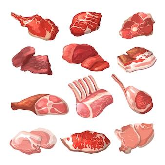Lamm, schweinefleisch und anderes fleisch in der karikaturart