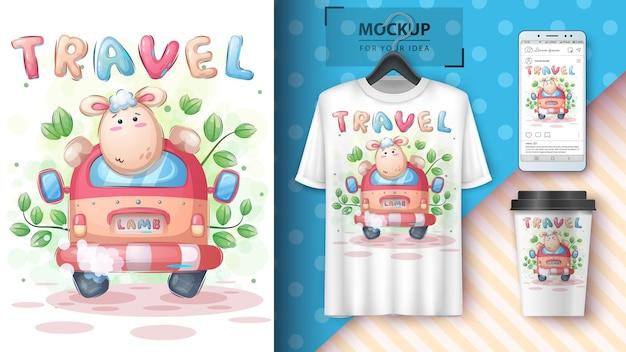 Lammwald-reiseplakat und merchandising