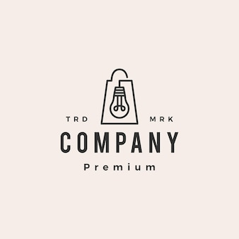 Lampe glühbirne shop einkaufstasche hipster vintage logo vorlage