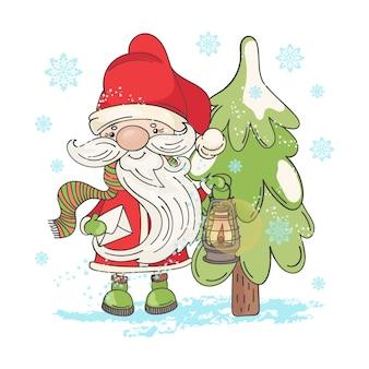 Lampe sankt weihnachtskarikatur
