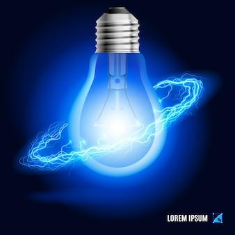 Lampe umgeben von einem strom blauer energie im raum