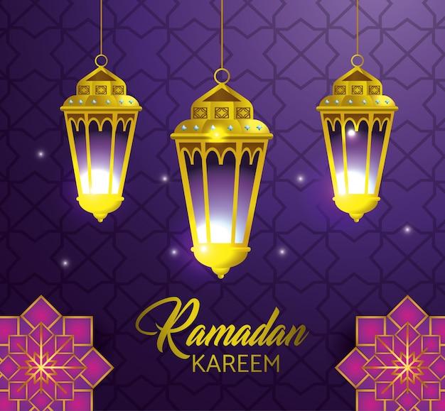 Lampen, die mit geometrischen blumen zu ramadan-kareem hängen