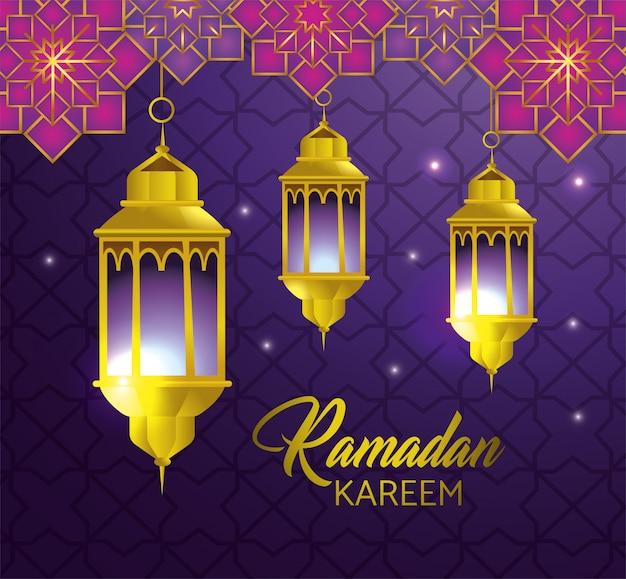 Lampen, die mit geometrischen blumen zum religionsfestival hängen