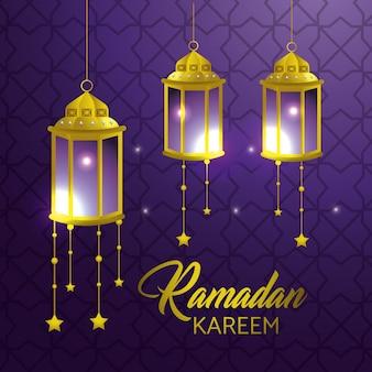 Lampen, die mit sternen zu ramadan kareem hängen