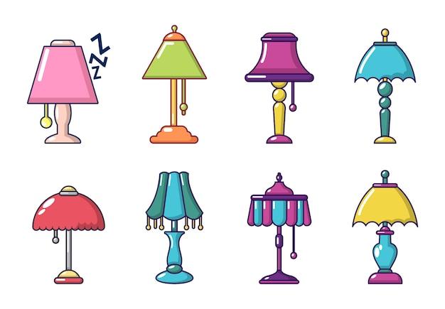 Lampen-icon-set. karikatursatz lampenvektorikonen eingestellt lokalisiert