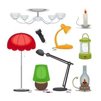 Lampen und lichter. kronleuchter, taschenlampe, kerze und öllampe, wiederaufladbare lampe.