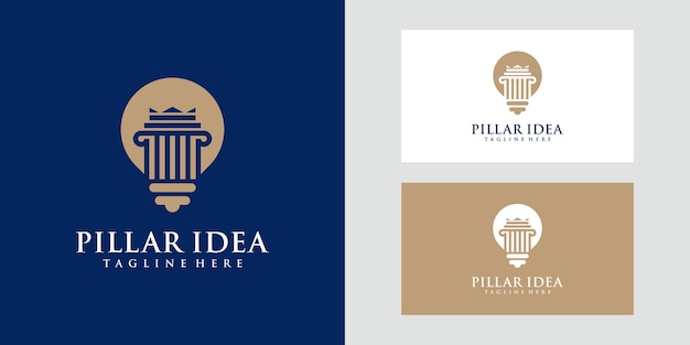 Lampenlampe und säulenlogo. anwalt, justiz, recht, kreatives logo