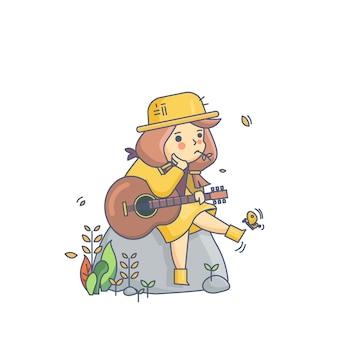 Land-mädchen-und gitarren-charakter-vektor-illustration