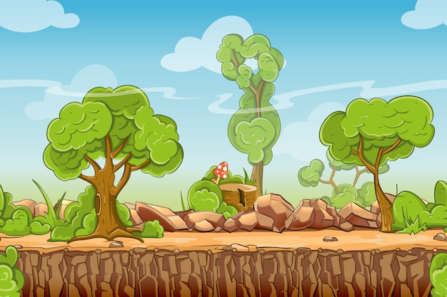 Land nahtlose landschaft im cartoon-stil. naturpanorama, grüner baum im freien, vektorillustration