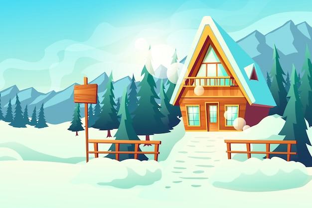 Land oder dorfhäuschenhaus in der schneebedeckten gebirgskarikatur