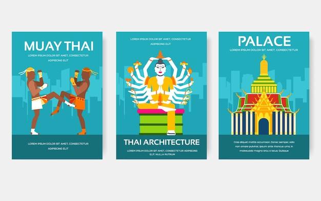 Land thailand reise urlaub reiseführer von waren. set von architektur, mode, menschen, gegenständen, natur.