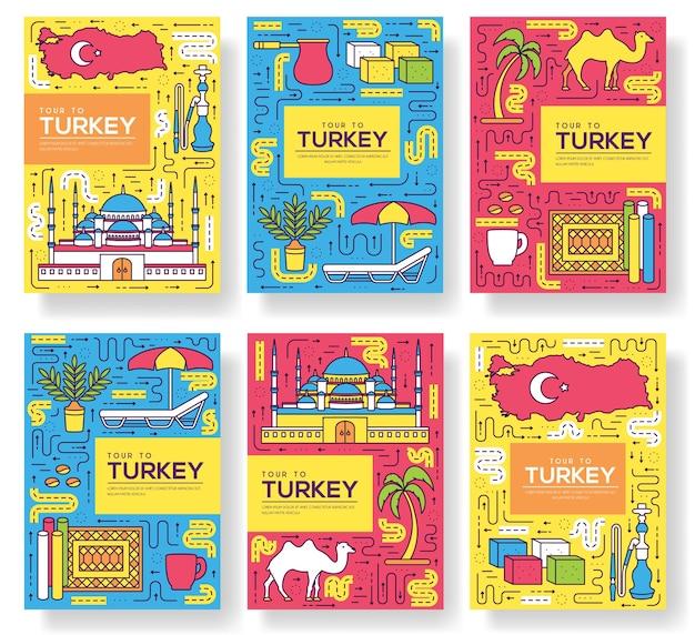 Land türkei karten dünne linie satz illustration