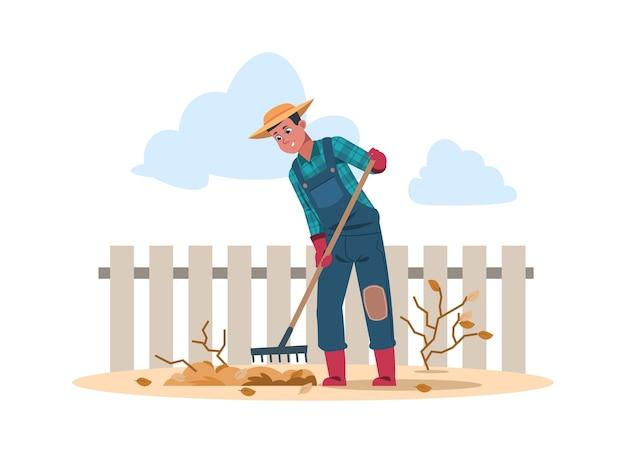 Landarbeiter-cartoon-figur, die arbeit in der landwirtschaft macht. vektorillustration landwirtschaft menschliche arbeit im garten