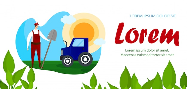 Landarbeiter-charakter, der nahe traktor-fahne steht