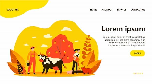 Landarbeiter, die tiere und gemüsegarten pflegen