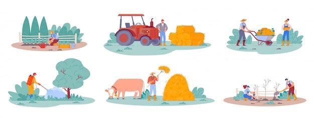Landarbeiter. farmlebensszenen, landwirtschaftliche züchterpflanzen und ernte. mann auf traktor, der heu im heuhaufen sammelt. karikaturleute, die obstbäume pflanzen. landarbeiter charakter,