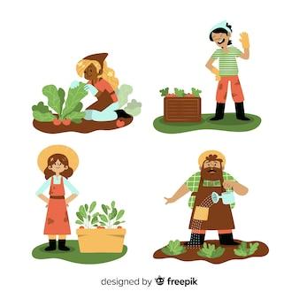Landarbeitercharaktere des flachen designs, die gemüse ernten