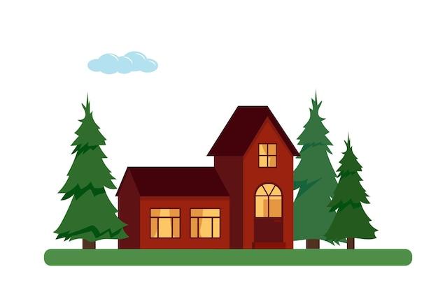 Landhäuser mit bäumen auf weißem hintergrund. elemente für natur- oder stadtgestaltung.