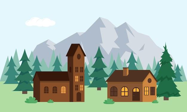 Landhäuser mit bäumen in der nähe von bergen. berglandschaft mit wald und häusern.