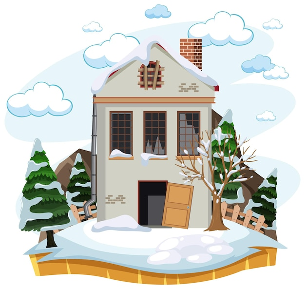 Landhaus im winter isoliert aufgeben