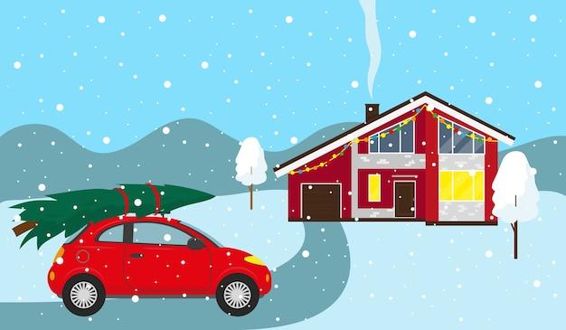 Landhaus und auto mit weihnachtsbaum auf dem dach