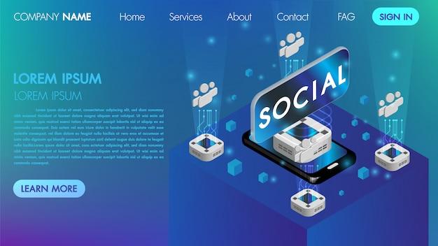 Landin-seite. mocksite sozialkommunikationskonzept der virtuellen realität mit technologie schließen isometrischen vektor an