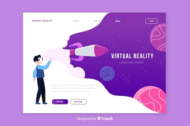 Landin-seitenschablone der virtuellen realität