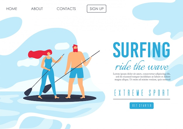 Landing page advertising romantisches extremsurfen