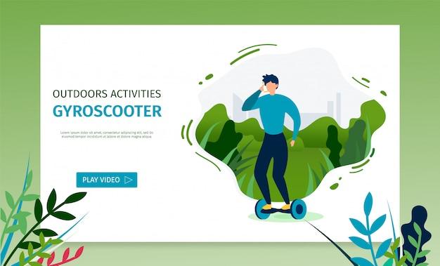 Landing page bietet video für das reiten von gyroscooter
