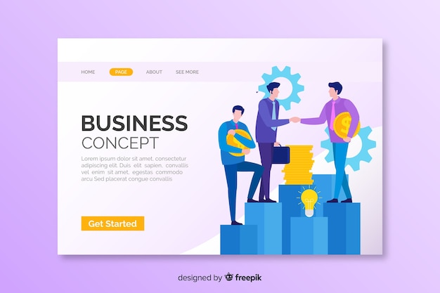 Landing page business-konzept
