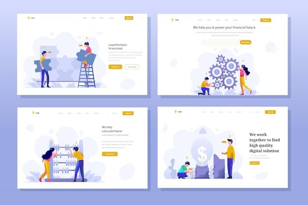 Landing page business und finanzen illustration flat gradient design-stil, puzzle, problemlösung, teamwork, geldmanagement-einstellung, abakus, berechnung, idee