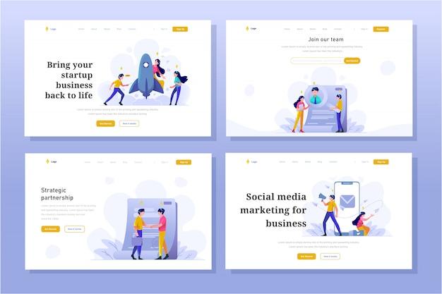 Landing page business und finanzen illustration flat gradient design-stil, startup, arbeitersuche, vertragsvereinbarung, megaphon, internet social media marketing