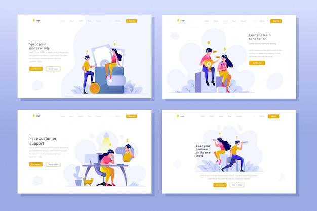 Landing page business und finanzen vektor illustration flachen farbverlauf design-stil, geld sparen auf brieftasche, gewinner leistung, kundenservice, vision, teleskop
