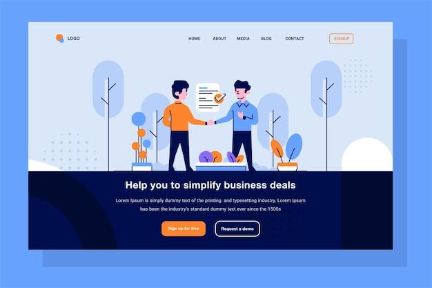 Landing page business- und finanzmann, der vertragsvereinbarungs-arbeitsvertrag-handshake für die einreichung eines flachen umriss-designstils für die beschäftigung macht