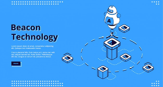 Landing page der beacon-technologie mit roboter