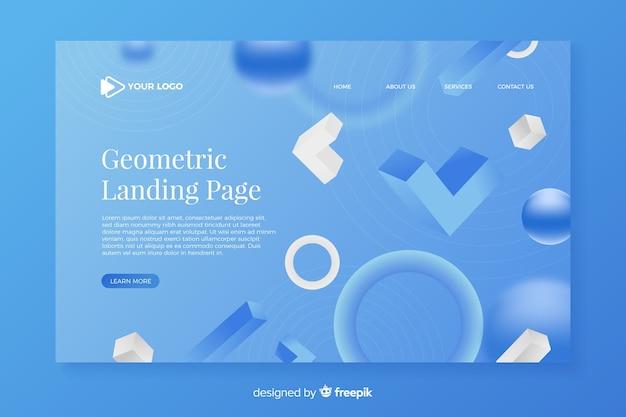Landing page der geometrischen aspekte 3d
