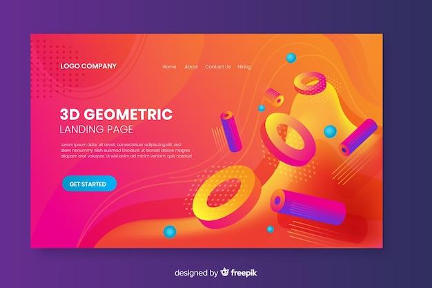 Landing page der geometrischen formen 3d