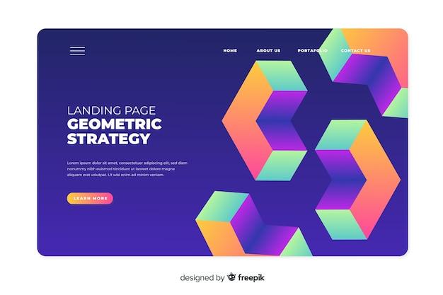 Landing page der geometrischen strategie 3d