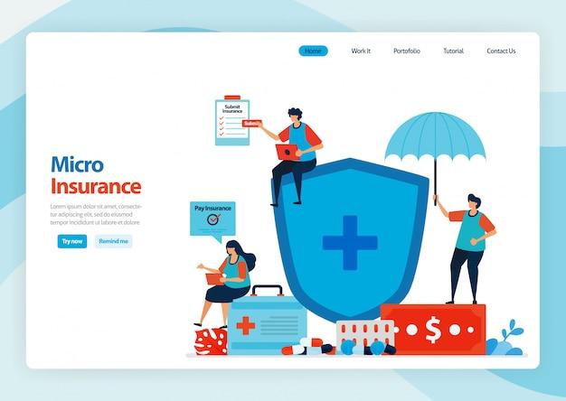 Landing page der mikrofinanzversicherung und des kostengünstigen gesundheitsschutzes.