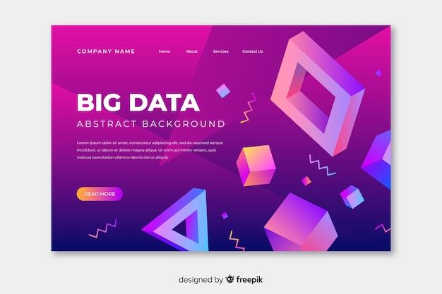 Landing page der verschiedenen geometrischen formen 3d
