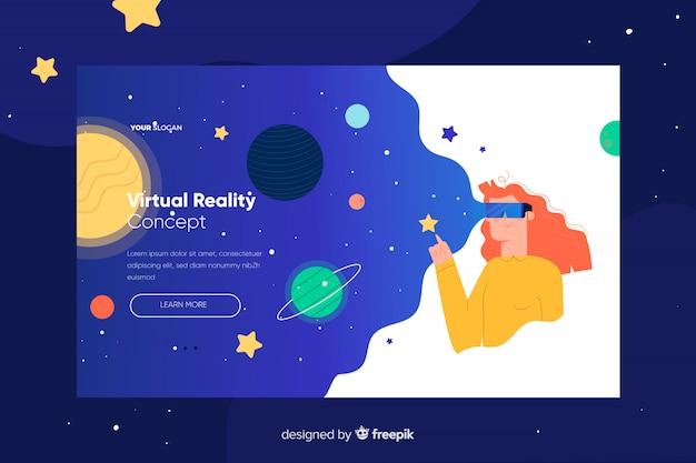Landing page der virtuellen realität