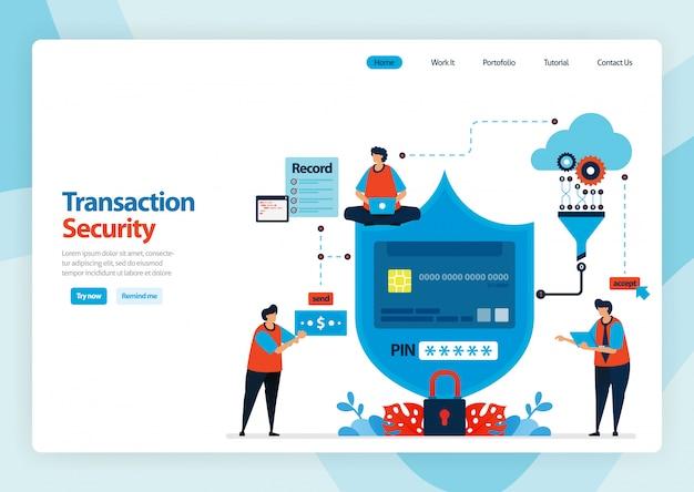 Landing page des mobilen zahlungssystems und der bargeldlosen schutztechnologie.