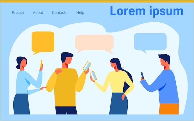 Landing page des sozialen netzes mit plaudernden leuten