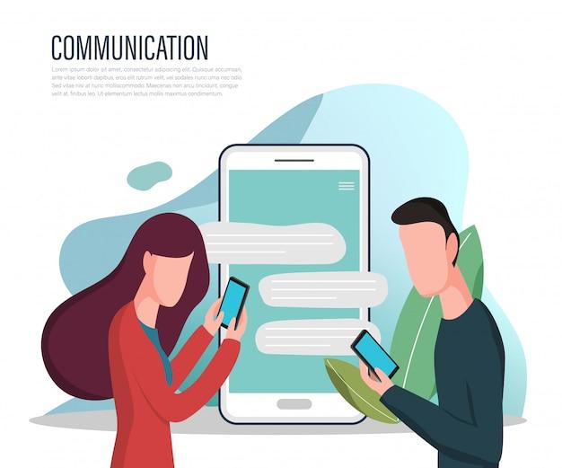 Landing page des sozialen netzwerks und chat mit personen.