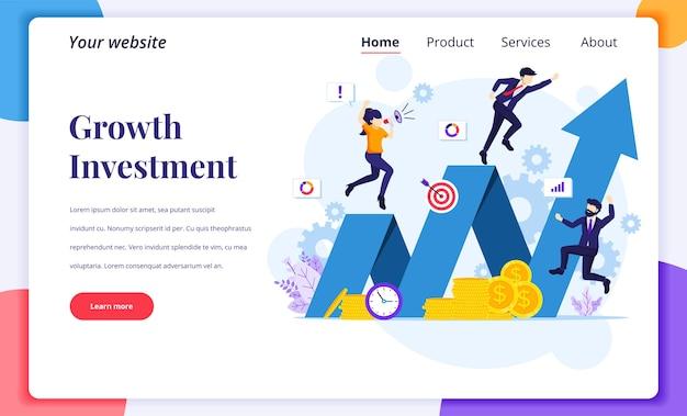 Landing page design-konzept von investment, geschäftsmann erfolg wachsen ihr geschäft, erhöhen finanzielle investition gewinn