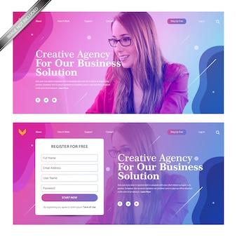 Landing page design mit hintergrund mit farbverlauf