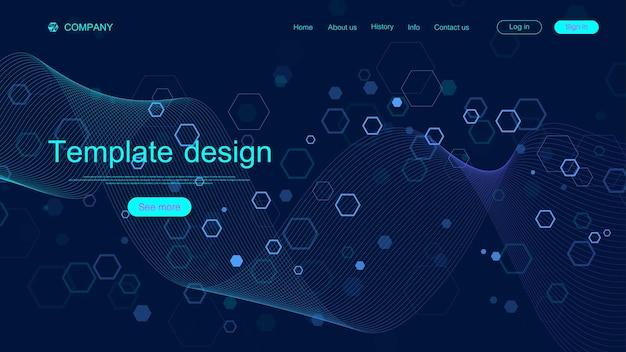 Landing page design-vorlage für wissenschaft, medizin, technologie, wirtschaft, bildung mit sechsecken und bunten dynamischen wellen. modernes landingpage-design für websites oder app-vektoren.